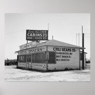 Roadside Diner, 1939. Vintage Photo Poster