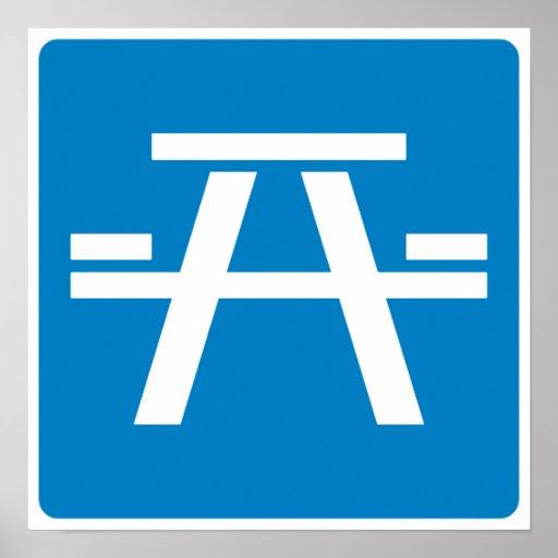 Roadside Table Highway Sign Poster