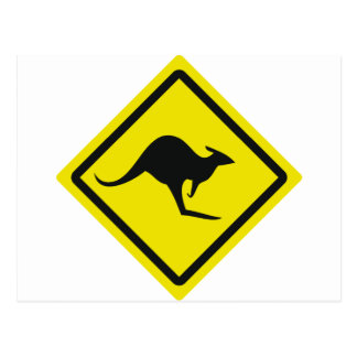 roadsign australia kangaroo icon postcard