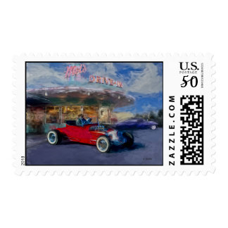 roadster at drive-in postage