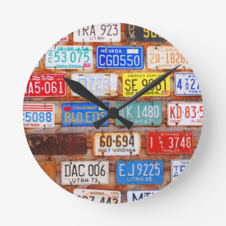Roadtrip Gear - US License Plates Round Wall Clock