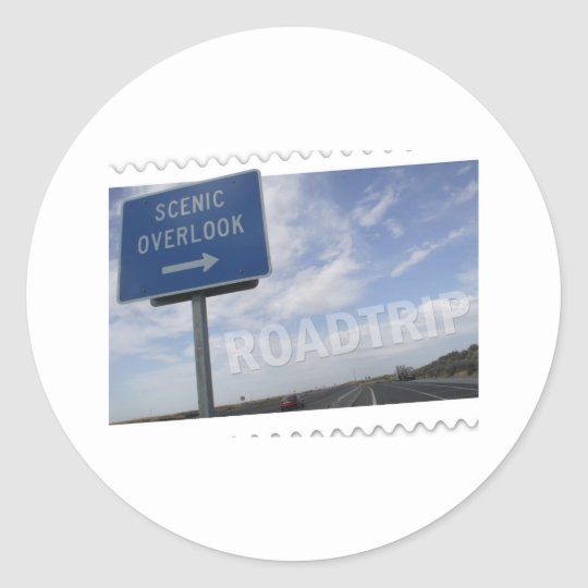 Roadtrip Scenic Overlook Classic Round Sticker