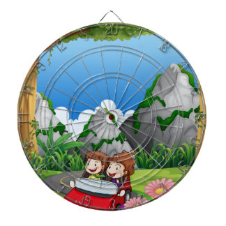 RoadtripPeople riding along the green forest Dartboards