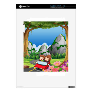 RoadtripPeople riding along the green forest Skins For iPad 2