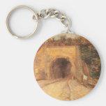 Roadway w Underpass, Viaduct by Vincent van Gogh Basic Round Button Keychain