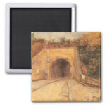 Roadway w Underpass, Viaduct by Vincent van Gogh 2 Inch Square Magnet