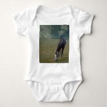 Roan Horse Grazing In Paddock, Baby Bodysuit