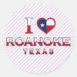 Roanoke, Texas Round Stickers