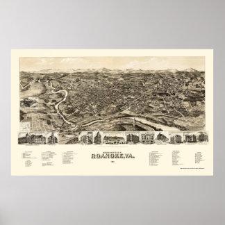 Roanoke, VA Panoramic Map - 1891 Poster