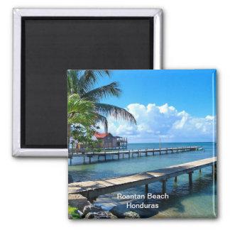 Roantan Beach, Honduras 2 Inch Square Magnet