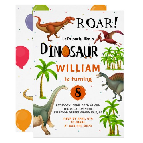 Roar Boys Dinosaur Birthday Jungle Party Invitation