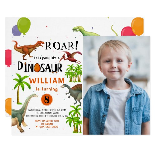 Roar Boys Dinosaur Birthday Jungle Party Photo Invitation