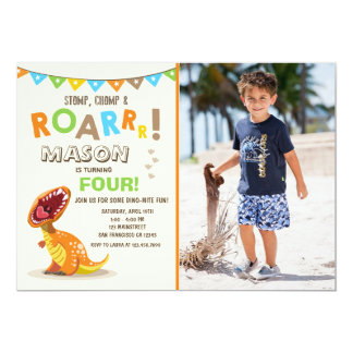 ROAR Dinosaur Dino Birthday Party Invitation