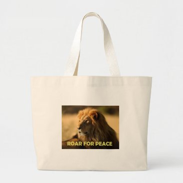 Beach Themed ROAR FOR PEACE LARGE TOTE