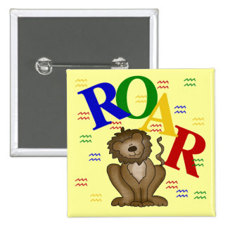 Roar Lion T-shirts and Gifts Button