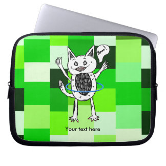 roar monster ZAZZLE BACK GROUND GREEN SQUARES 3.pn Computer Sleeve