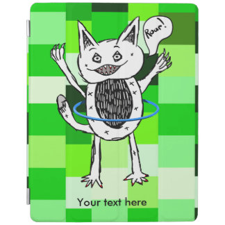roar monster ZAZZLE BACK GROUND GREEN SQUARES 3.pn iPad Smart Cover