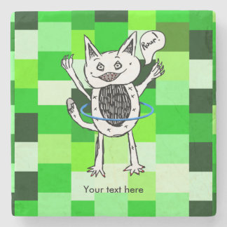 roar monster ZAZZLE BACK GROUND GREEN SQUARES 3.pn Stone Coaster