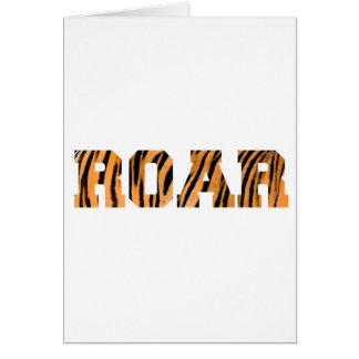 ROAR Tiger Print Text Design Greeting Card