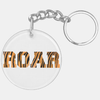ROAR Tiger Print Text Design Keychain