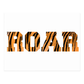ROAR Tiger Print Text Design Postcard