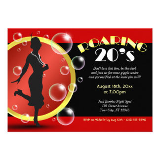Roaring 20 s Flapper Girl Giggle Water Invitations