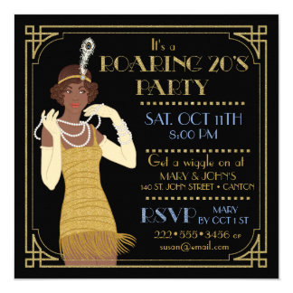 Roaring 20's African American Flapper Gold & Black Card