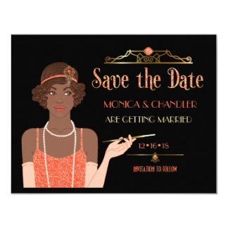 Roaring 20s African American Flapper Save the Date Card