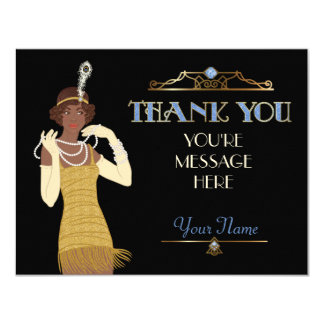 Roaring 20s African American Flapper Thank You Card