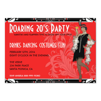 Roaring 20's African Flapper Girl Invitations
