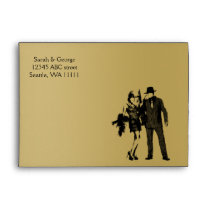 Roaring 20s art deco flapper girl and gangster envelope