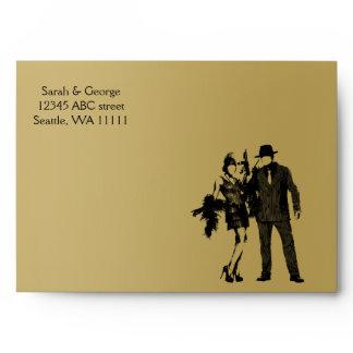 Roaring 20s art deco flapper girl and gangster envelope