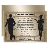 Roaring 20s art deco flapper girl and gangster invitation