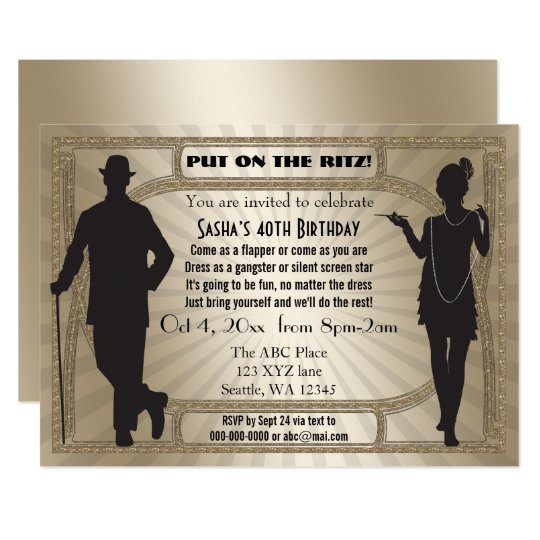 Roaring 20s art deco flapper girl and gangster invitation zazzle roaring 20s art deco flapper girl and gangster invitation solutioingenieria Choice Image