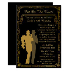 Roaring 20s art deco flapper girl and gangster invitation
