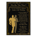 Roaring 20s art deco flapper girl and gangster 5x7 paper invitation card