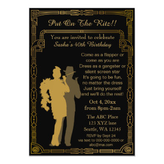 "Roaring 20s art deco flapper girl and gangster 5"" x 7"" invitation card"