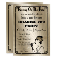 Roaring 20s art deco flapper girl invitation
