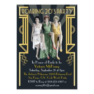 """Roaring 20's Art Deco Flapper Party Invitation 5"""" X 7"""" Invitation Card"""