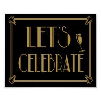Roaring 20's Art Deco Let's celebrate party print