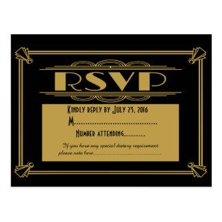 Roaring 20's Art Deco RSVP postcard