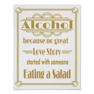Roaring 20's Art deco Wedding Alcohol Bar print