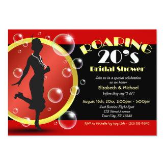 "Roaring 20's Flapper Girl Bridal Shower Invitation 5"" X 7"" Invitation Card"