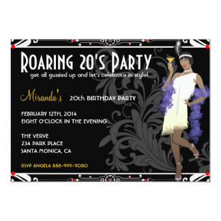 Roaring 20's Flapper Girl Retro Invitations