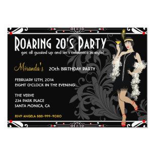 20th birthday invitations announcements zazzle roaring 20s flapper girl retro invitations filmwisefo