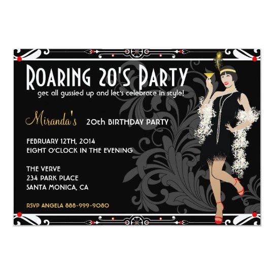 roaring 20 s flapper girl retro invitations zazzle com