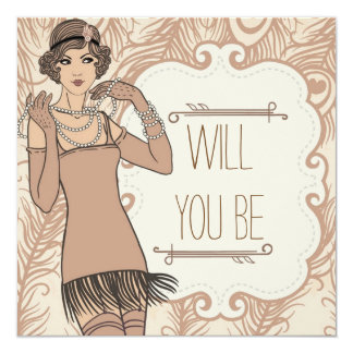 Roaring 20's Flapper Girl Retro Party Invitations