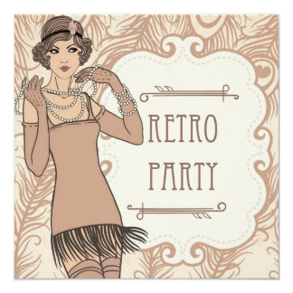 Roaring 20's Flapper Girl Retro Party Invitations