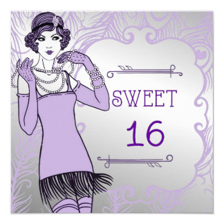 Roaring 20's Flapper Girl Retro Sweet 16th Party Card