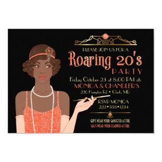 Roaring 20's Flapper Glitter Retro Tangerine Black Card
